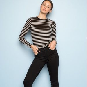 Brandy Melville Striped Long-Sleeve Tee (Fits XS)